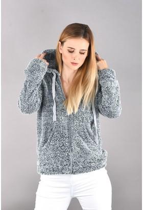 Bukle Moda Peluş Kapüşonlu Ceket