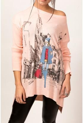 Moda Shop Ön Arka Baskılı Triko Tunik