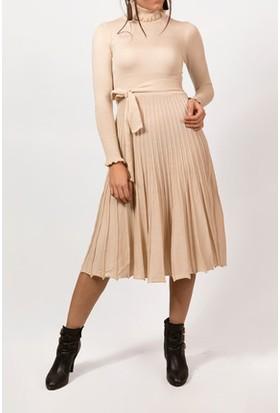 Moda Shop Boğazlı Triko Elbise