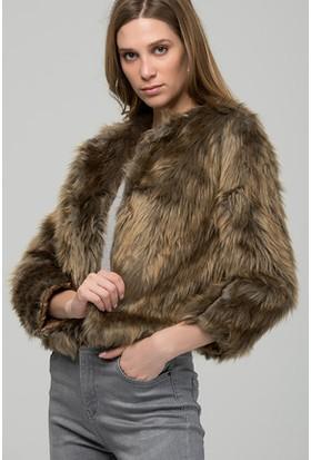 Moda Shop Kahverengi Suni Kürk Kısa Ceket