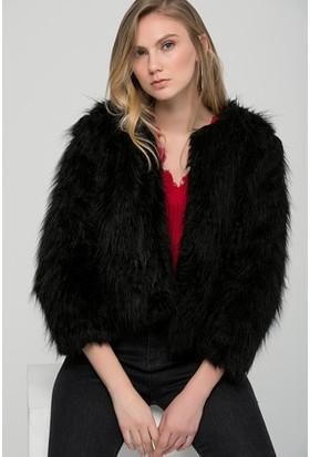 Moda Shop Siyah Suni Kürk Kısa Ceket