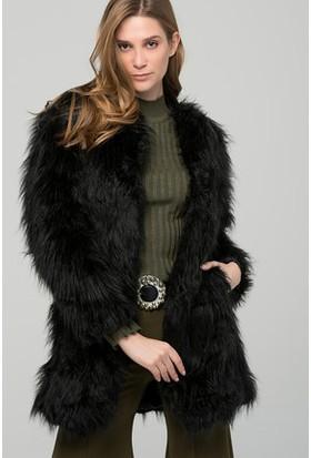Moda Shop Siyah Suni Kürk Uzun Ceket