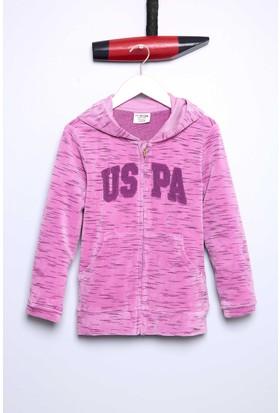U.S. Polo Assn. Kız Çocuk Safan Sweatshirt Pembe