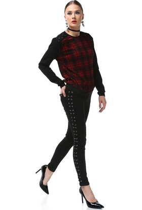 Rockupy Kadın Kordon Ve Kuş Gözü Detaylı Pantolon