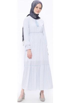 Desenli Elbise - Mavi - Beha Tesettür