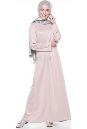 A Pile Detaylı Elbise - Pudra - Almera