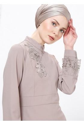 Canel Dantel Elbise - Vizon - Selma Sarı Design