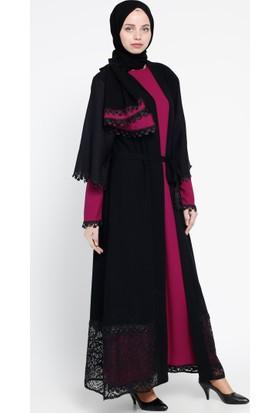 3'lü Takım Abaya - Siyah Fuşya - Jamila