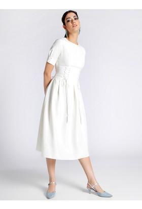 Beli Detaylı Elbise - Beyaz - Refka