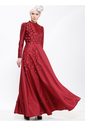 Çiçek Detaylı Abiye Elbise - Bordo - Selma Sarı Design