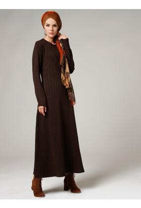 V Desen Triko Elbise - Kahve - Mustafa Dikmen