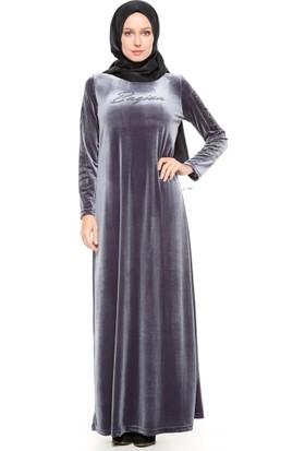 Drop Baskılı Kadife Elbise - Gri - Ginezza
