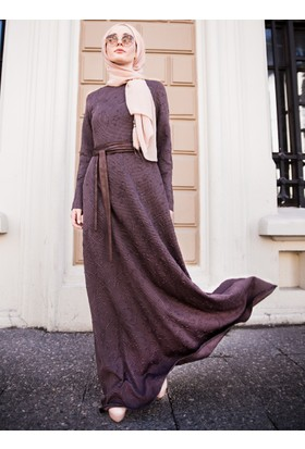 Demet Elbise - Kahverengi - Lef`zen