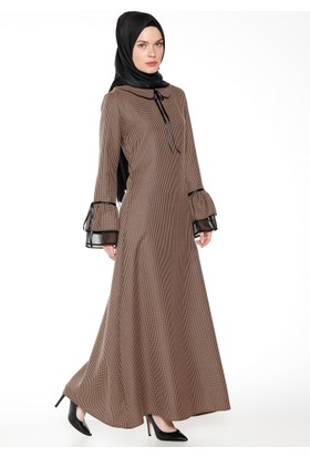 Kazayağı Desenli Elbise - Vizon - BÜRÜN