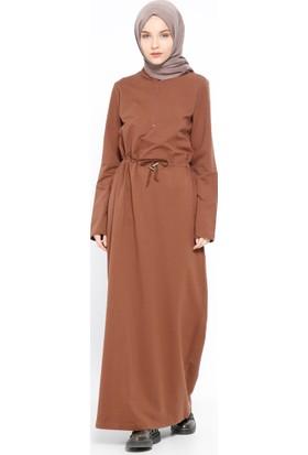 Fermuar Detaylı Elbise - Kahve - Bwest