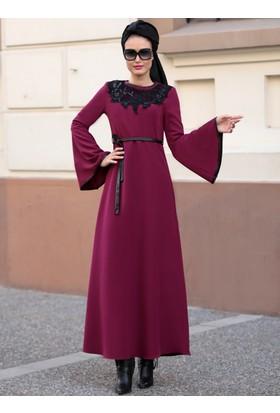 Yaka Detaylı Elbise - Fuşya - Selma Sarı Design