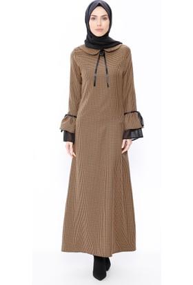 Kazayağı Desenli Elbise - Hardal - BÜRÜN