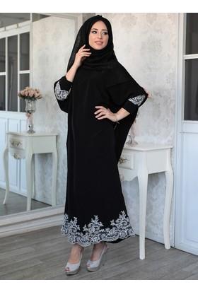 Tuana Dantelli Elbise - Siyah - Lef`zen