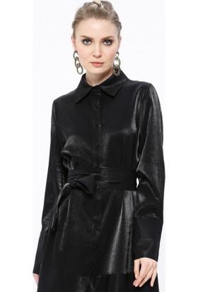 Kendınden Çizgili Gömlek Yaka Elbise - Siyah - Store Wf