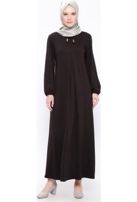 A Pile Detaylı Elbise - Siyah - Ginezza