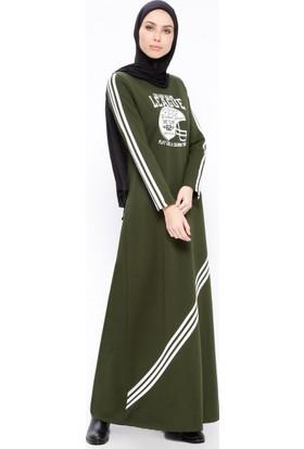 Baskılı Elbise - Haki - Ginezza
