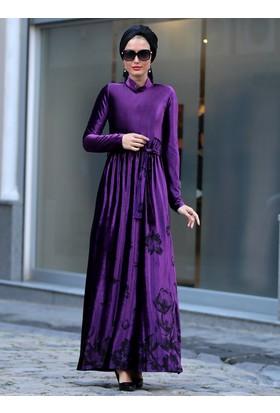 Elisa Kadife Elbise - Mor - Selma Sarı Design