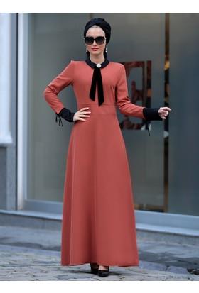 Bebe Yaka Elbise - Kiremit - Selma Sarı Design