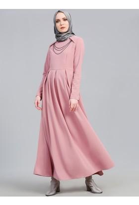 Pile Detaylı Elbise - Pudra - Refka