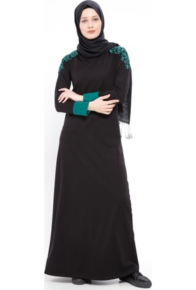 Nakışlı Elbise - Siyah Yeşil - Ginezza
