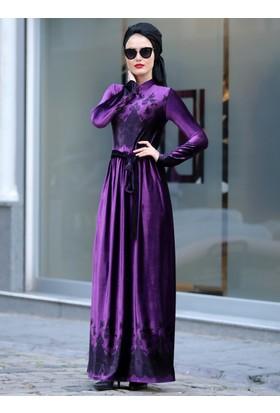 Simay Kadife Elbise - Mor - Selma Sarı Design