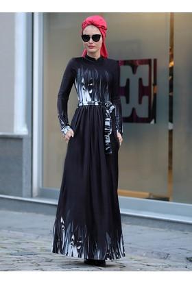 Çizgi Desen Kadife Elbise - Siyah - Selma Sarı Design