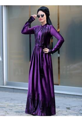 Çizgi Desen Kadife Elbise - Mor - Selma Sarı Design