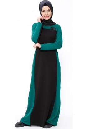 Garnili Elbise - Siyah Yeşil - Ginezza
