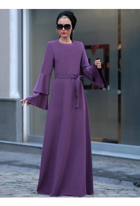Volanlı Işık Elbise - Lila - Selma Sarı Design