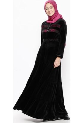 Drop Baskılı Kadife Elbise - Siyah Fuşya - Ginezza