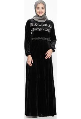 Drop Baskılı Kadife Elbise - Siyah Gri - Ginezza
