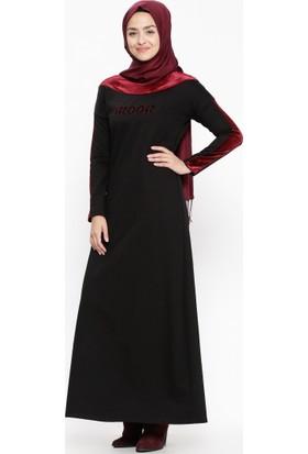 Kadife Detaylı Elbise - Siyah Bordo - Ginezza