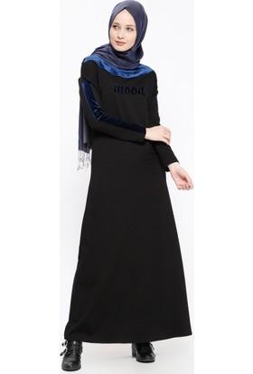 Kadife Detaylı Elbise - Siyah Lacivert - Ginezza