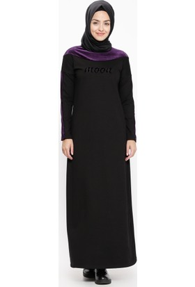 Kadife Detaylı Elbise - Siyah Mor - Ginezza