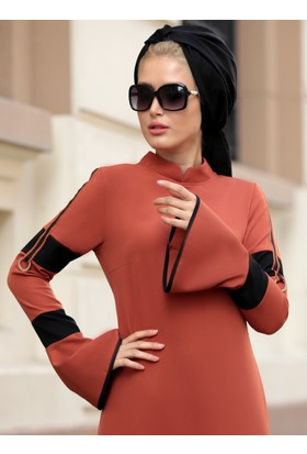 Volan Kol Nilay Elbise - Kiremit - Selma Sarı Design