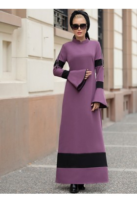 Volan Kol Nilay Elbise - Lila - Selma Sarı Design
