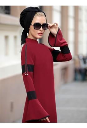 Volan Kol Nilay Elbise - Bordo - Selma Sarı Design