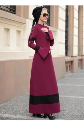 Volan Kol Nilay Elbise - Mürdüm - Selma Sarı Design