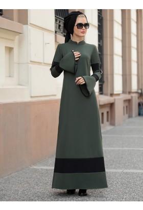 Volan Kol Nilay Elbise - Haki - Selma Sarı Design