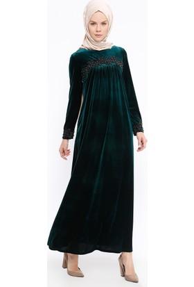 Güpürlü Kadife Elbise - Yeşil - Ginezza