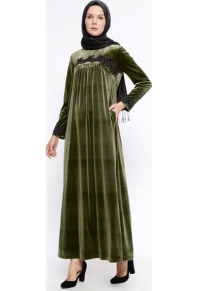 Güpürlü Kadife Elbise - Haki - Ginezza