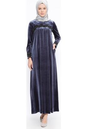 Güpürlü Kadife Elbise - Gri - Ginezza