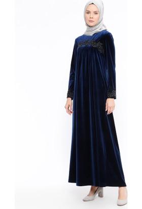 Güpürlü Kadife Elbise - Lacivert - Ginezza