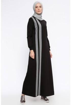 Garnili Elbise - Siyah - Ginezza