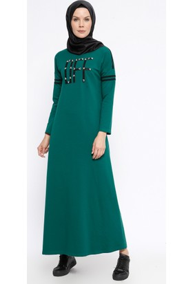 İncili Elbise - Yeşil - Ginezza